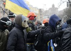 EuroMaidan; Kyiv, Ukraine 2013 - Students ready for attack by Riot Police in Kyiv, Ukraine
