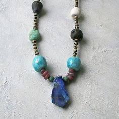 Long Bohemian Lapis & ceramic necklace, colourful artisan beads - blue Raku, eccelectic gemstones, unique gift, UK handmade, Gifts for her Bohemian Necklace, Beaded Necklace, Ceramic Necklace, Rough Opal, Ancient Jewelry, Green Turquoise, Blue Beads, Copper Jewelry, Artisan Jewelry