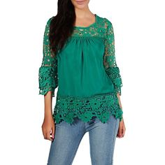 Flower Design Round Neck Lace Patchwork Blouse ($23) ❤ liked on Polyvore featuring tops, blouses, green, lace collar blouse, floral print tops, lace top, blue lace top and collar blouse