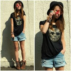Get this look: http://lb.nu/look/3553777  More looks by Agata P: http://lb.nu/agatap  Items in this look:  Oasap Skull T Shirt, Romwe Shorts, Primark Boots, Primark Hat