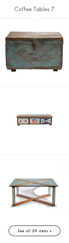 """""""Coffee Tables 7"""" by mysfytdesigns ❤ liked on Polyvore featuring home, home decor, small item storage, scandinavian home decor, painted trunk, decor accessories, decorative boxes, timber hooks, wooden drawer boxes and wood flower box"""