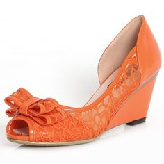 orange wedding wedge   Wedge Heel Bow Peep Toes Orange Wedding Bridal Shoes ...