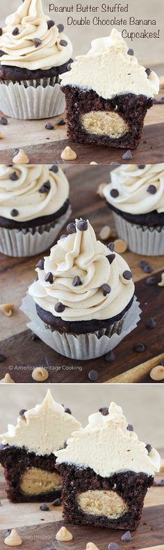 Peanut Butter Stuffed Double Chocolate Banana Cupcakes Peanut Butter Frosting recipe   If you love peanut butter and chocolate then you with LOVE these cupcakes!!! It's like the inside of a Reese's cup in the middle.