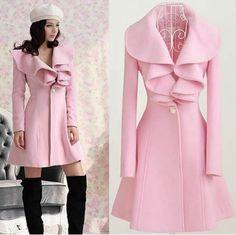 New Women Pink Trench Coat Jacket Parka Fashion Slim Fit Gossip Girl Outwear | eBay