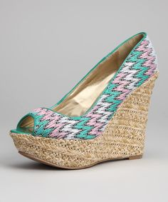 Teal Trina Peep-Toe Wedge | Daily deals for moms, babies and kids