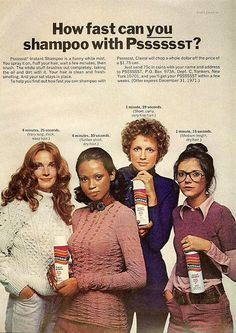 """""""Psssssst dry shampoo is a funny white mist"""". Hard to read the rest of this ad without laughing like a fool. Retro Advertising, Retro Ads, Vintage Advertisements, Vintage Ads, Vintage Stuff, Vintage Makeup, Vintage Beauty, Beauty Ad, Thing 1"""