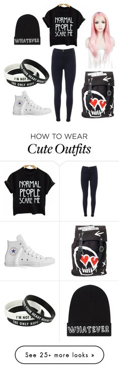 """Cute outfit"" by holly32196 on Polyvore featuring J Brand, Converse and Local Heroes"