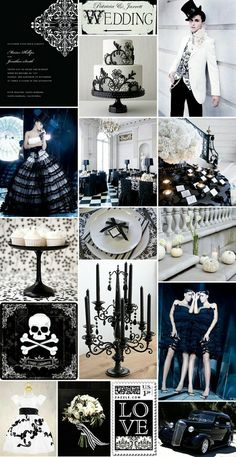 Gothic/Halloween wedding inspiration  this is really cool! I also found these that would go great with this....  http://www.galleydirect.com/product.asp?dept_id=45010=14114