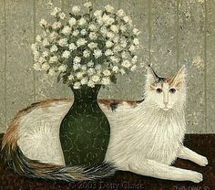 Dotty Chase - American Folk Artist: Viewing Flowers for Milo Print