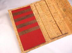 Woman Wallet, Cork brown bordeuax plain fabric wallet, Large woman wallet