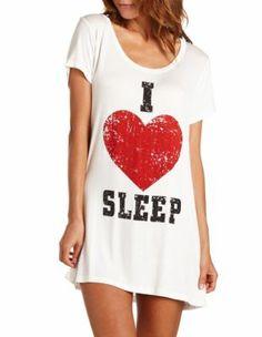"""I Heart Sleep"" Sleep Shirt: Charlotte Russe comfy Lingerie Sleepwear, Nightwear, Visual Kei, Pijamas Women, Babydoll, Cute Pajamas, Girls Pajamas, Sleep Shirt, Sleep Dress"
