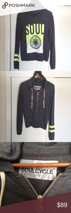 $135 | SOULCYCLE Hoodie Sweatshirt | Large | NWOT Brand New Without Tags, Neon Yellow, White And Charcoal Grey Signature SOULCYCLE Hoodie Sweatshirt.  Size Large.  Retail $135 soulcycle Tops Sweatshirts & Hoodies