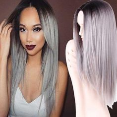 "Grey Ombre Wig False Hair Synthetic Wigs for Black Women 26"" Long Stra. 