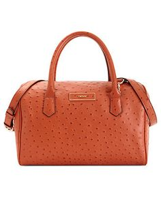 DKNY Handbag, Ostrich Leather Satchel - Satchels - Handbags & Accessories - Macy's