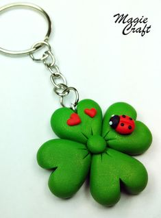 Four-leaf clover with Ladybug Keychain in Fimo by MagieCraft