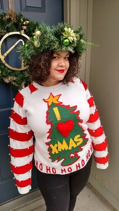 Easy DIY Grinch Sweater: 6 Steps (with Pictures) - Emma Lee home Grinch Christmas Sweater, Homemade Ugly Christmas Sweater, Christmas Dress Up, Grinch Christmas Party, Christmas Diy, Diy Christmas Sweaters, Diy Christmas Costumes, Xmas Costumes, Merry Christmas