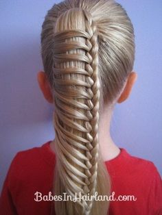 Chinese Ladder Braid by Erin Balogh. Here is a little video about how to do the Chinese Ladder Braid -- also called the . A couple tips: the Pretty Hairstyles, Girl Hairstyles, Braided Hairstyles, Braided Ponytail, Braid Hair, Wedding Hairstyles, Updo Hairstyle, Braided Buns, Hairstyle Ideas