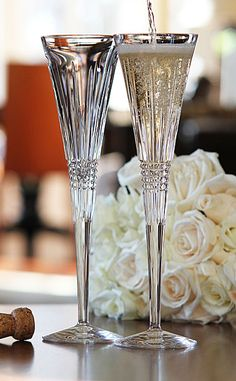 Probably my favorite pair of toasting flutes. Waterford Lismore, Waterford Crystal, Toasting Flutes, Champagne Flutes, Crystal Glassware, Glass Art, Tableware, Kitchenware, Bridal Stores