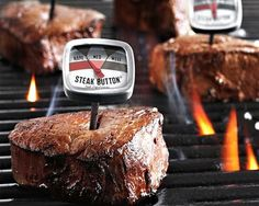 The Reusable Steak Button Thermometer promotes food safety. Insert stainless steel probe into the steak and at a glance and from a distance you can see when your steak has reach the perfect doneness.