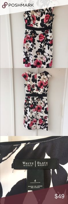 White House Black Market Dress Beautiful white floral dress ideal for that special occasion. White House Black Market Dresses Midi