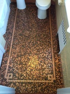 Penny floors of copper pennies, how to install penny floor or make penny floor and penny flooring from penny round tile of copper pennies or coins and cents, penny tiled floor, penny tile floor, cooper tiles with stylish designs and ideas Penny Floor Designs, Penny Tile Floors, Stock Design, Bathroom Flooring, Wood Flooring, Flooring Ideas, Mosaic Tiles, Quarry Tiles, Tiling
