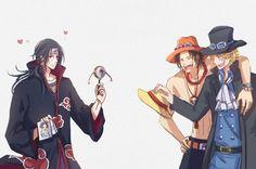 One Piece, Crossover, Naruto, Itachi, Ace, Sabo