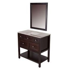 St. Paul Ashland 36-1/2 in. W Vanity in Chocolate with Stone Effects Vanity Top in Baja Travertine and Wall Mirror