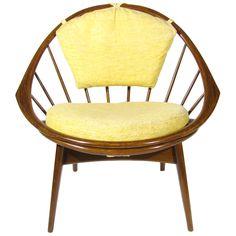 Hoop Chair by Ib Kofod Larsen Dream Furniture, Furniture Decor, Repurposed Furniture, Beautiful Interiors, Mid-century Modern, Upholstery, Sweet Home, New Homes, Lounge