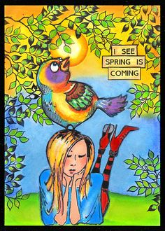 """anjas-artefaktotum: """" I See Spring Is Coming"""" Design by Ryn Leafy Branch meets Stampotique Jasmin"""