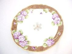 Hand Painted Nippon Purple Violets Gold Accent Decorator Plate