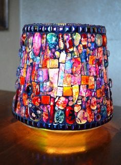 Large Stained glass, Mosaic, Rainbow, Vase or Candle holder 20x21cm,    Hand made tiles, fused glass. recycled melted neon tube, beads, glass, gems, paint, Ottoman ceramic tiles.