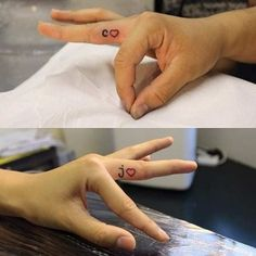 81 Cute Couple Tattoos That Will Warm Your Heart Couple Initials Finger Tattoos Heart Tatoo, Couple Tattoo Heart, Couple Tattoos Love, Tiny Heart Tattoos, Married Couple Tattoos, Small Tattoos, Marriage Tattoos, Partner Tattoos, Relationship Tattoos