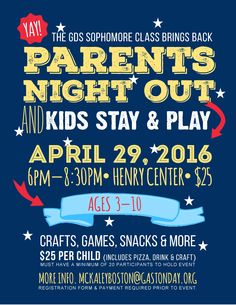 Parents Night Out has been CANCELLED for Friday, April 29, 2016