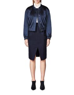 Women's cropped bomber jacket with water-resistant finish. Features concealed zip and press button fastening. Dropped shoulders with batwing sleeves. Fabric-covered elastic at cuffs and bottom hem. Women's Skirts, Batwing Sleeve, Bermuda Shorts, Cashmere, Bomber Jacket, Zip, Jackets, Style, Fashion