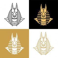 Anubis logo Premium Vector Egyptian Symbols, Egyptian Art, Vogel Illustration, Ancient Egypt Art, Flash Art, Symbolic Tattoos, Stencil Designs, Pop Art, Anubis Symbol