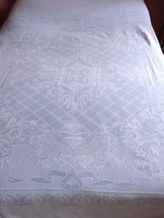 Antique French bedspread throw coverlet bed spread blue cotton woven reversible ROMANTIC design w roses fringes, vintage French bed linens by MyFrenchAntiqueShop on Etsy