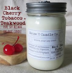 a little something different for dad on father's day perhaps?  the scent of grandpa's pipe paired with a bit of black cherry and teakwood, delicious! handpoured soy candle No. 6 The Tudor is infused with beeswax and essential oils, it is dye-free and organic, Black Cherry Tobacco + Teakwood in large size by House33CandleCo on etsy, $15.00