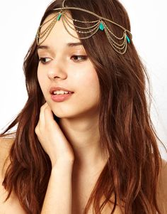 Elagent Alloy Chain Elastic Multi-layer Turquoise Hair Band Women Ladies Head Accessories
