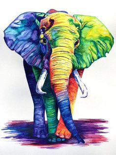 similar items Elephant watercolor print on Etsy Colorful Art, Art Painting, Elephant Art, Animal Art, Animal Drawings, Watercolor Elephant, Animal Paintings, African Art Paintings, Canvas Art