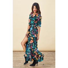 Dancing Leopard Maxi Shirt Dress in Meadow Floral (£49) ❤ liked on Polyvore featuring dresses, multicolour, maxi shirt dress, button-down shirt dresses, floral maxi dress, shirt dresses and floral dresses