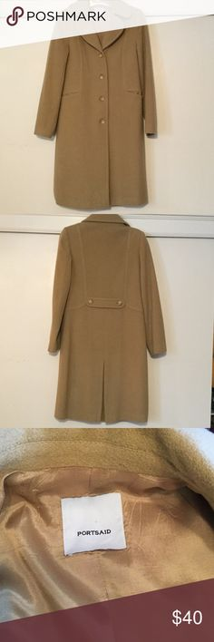 Classic camel wool coat Classic design that will look great for years to come. All wool, satin lining, 4 buttons, slit pockets. Beautiful!!😍 Portsaid Jackets & Coats Trench Coats