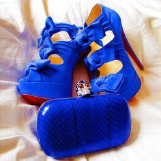 Christian Louboutin x Marchesa 'Madam Butterfly' Blue suede platform bow stilettos Fall 2010 & Alexander McQueen Skull Bag