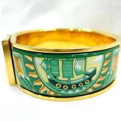 Vintage Hermes cloisonne enamel click and clack bangle green yacht, ship design 1990