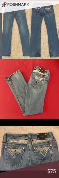 Miss Me bedazzled angle wing boot cut jeans Super cute bedazzled/sequin/sparkle angel wing under the belt-loop. Brand new condition except for the fraying on the bottom that is only 2.5 inches in length. Style number is JP5010 bt. Will provide measurements upon request. Ask questions and make an offer! Miss Me Jeans Boot Cut