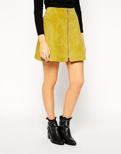Enlarge ASOS A-Line Skirt In Suede With Zip Through Detail