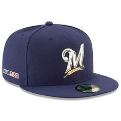 0151d2ecd9961 Men s New Era Navy Milwaukee Brewers MLB 150th Anniversary Authentic  Collection 59FIFTY Fitted Hat