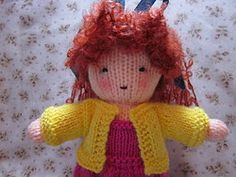 Knit Doll - links to free knitting patterns for the doll and two outfits on By Hook, By Hand at http://byhookbyhand.blogspot.com/2011/11/white-friday.html
