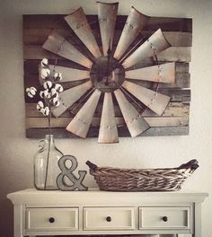 Vintage Farmhouse Decor Over-sized Windmill and Barn Wood Wall Clock More - There are many rustic wall decor ideas that can make your home truly unique. Not sure where to start? Browse through the best designs! Diy Home Decor Rustic, Country Farmhouse Decor, Easy Home Decor, Cheap Home Decor, Vintage Farmhouse, Farmhouse Chic, Country Living, Farmhouse Ideas, Farmhouse Design