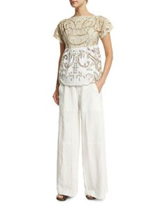 Embroidered Contrast Lace Top & Textured Wide-Leg Pants by Chloe at Neiman Marcus.