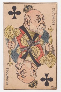 "King Edward VII ""King of Clubs"" French Playing Card. King Edward Vii, Royalty, Playing Cards, French, Club, Prints, Art, Royals, Art Background"